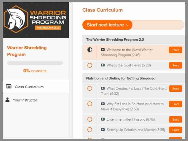 Warrior shredding program image