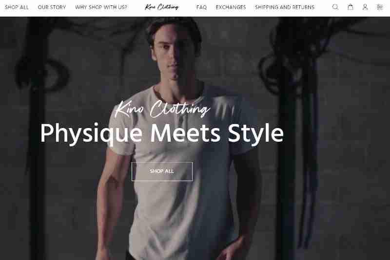 Kino clothing website screenshot image