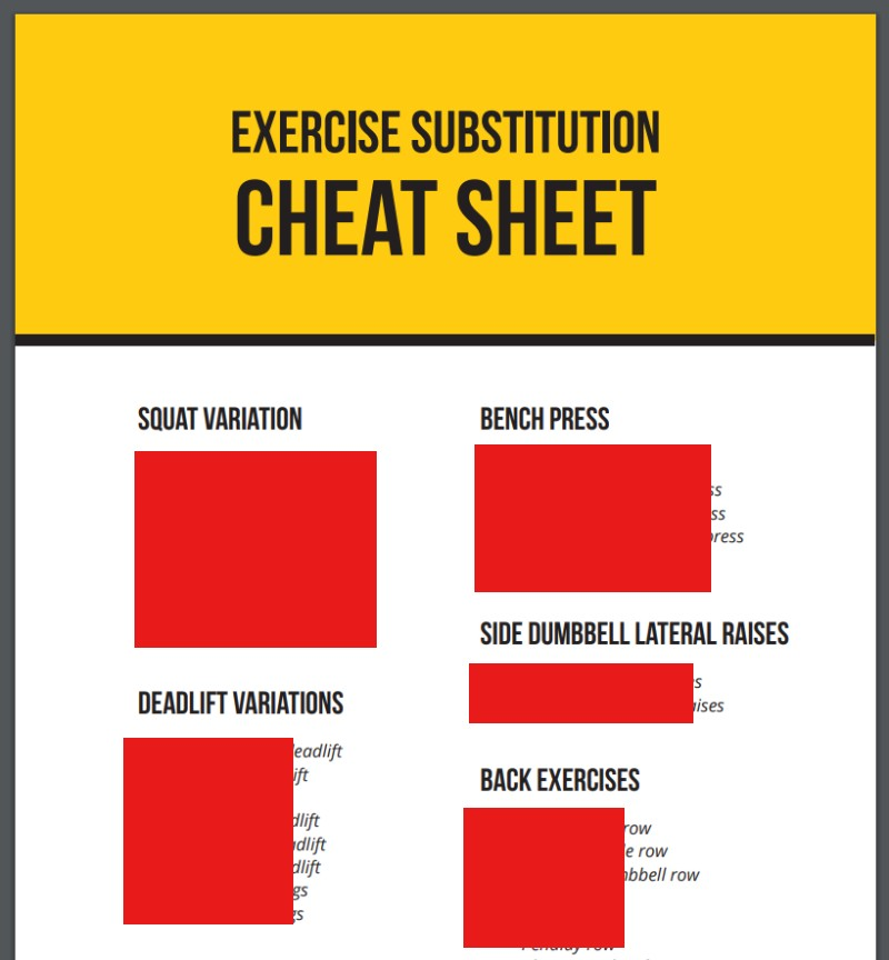 Superhero x12 exercise substitution cheat sheet image