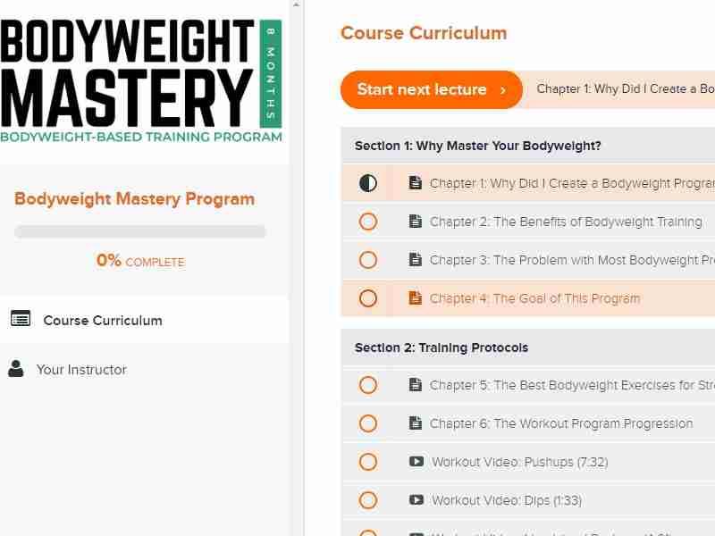 Bodyweight mastery program dashboard image