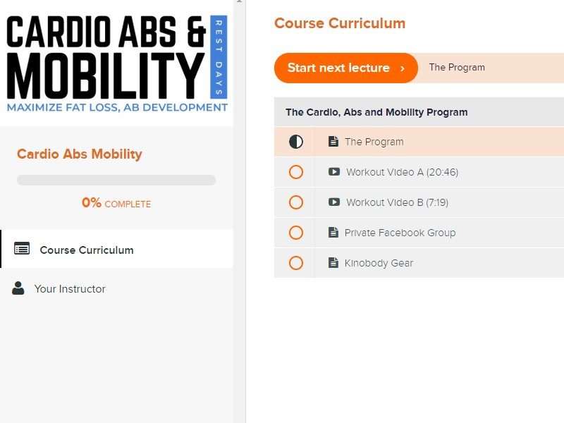Cardio abs mobility dashboard image