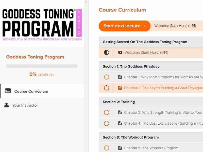 Goddess toning program dashboard image