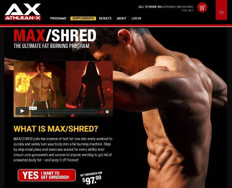 Athlean x max shred sales page image