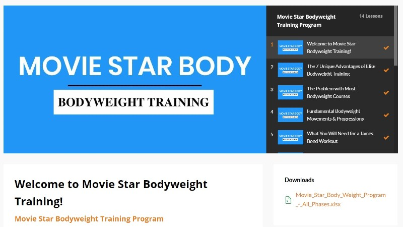 Movie star body bodyweight training image