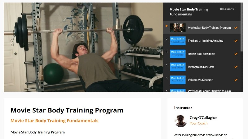 Movie star body training image