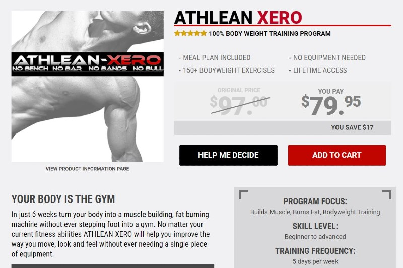 What is the athlean xero bodyweight workout image