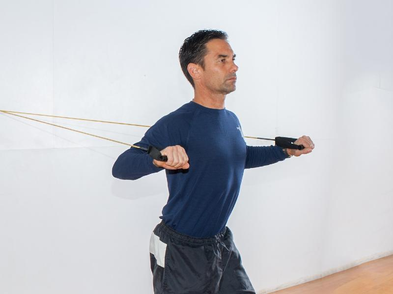 Resistance band chest press image